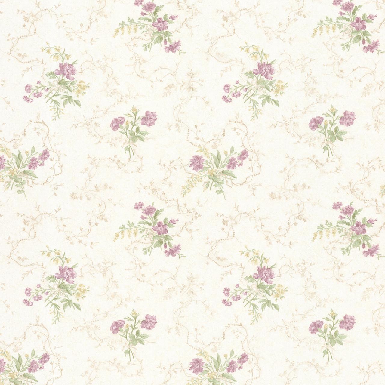 992 68342 Marie Mauve Delicate Floral Bouquet Wallpaper
