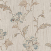 Gemma Embroidered Jacobean Floral Ocean Wallpaper 2537-M3923