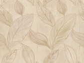 Rosalba Satin Leaf Latte Wallpaper 2537-Z3621