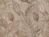 Rosalba Satin Leaf Walnut Wallpaper 2537-Z3629