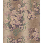 AR7701 - Charleston II Bouquet Damask Raised Print Wallpaper in Pink, Green, and Lavender