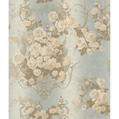 AR7704 - Charleston II Bouquet Damask Raised Print Wallpaper in Lavender, White, and Grey
