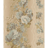 AR7717 - Charleston II Floral Stripe Pearlescent Wallpaper in Blue, Green, Cream and Beige