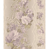 AR7718 - Charleston II Floral Stripe Pearlescent Wallpaper in Lavender, Green, Cream and Grey