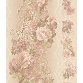 AR7719 - Charleston II Floral Stripe Pearlescent Wallpaper in Carnation, Green, Cream and Beige