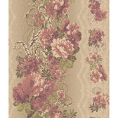 AR7722 - Charleston II Floral Stripe Pearlescent Wallpaper in Magenta, Green, Cream and Metallic Brown