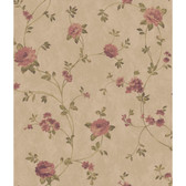 AR7725 - Charleston II Floral Vine Pearlescent Wallpaper in Light Brown, Green and Dark Pink