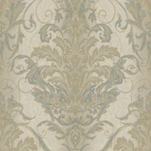 AR7748 - Charleston II Ombre Damask Stripe Raised Prints Wallpaper in Grey, Green, and Blue