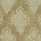 AW7555 - Charleston II Woven Damask Pearlescent Wallpaper in Beige and Cream