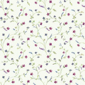 AC4425 - Country Keepsakes Country Floral Trail Wallpaper in White, Pink, Purple and Green