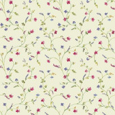 AC4426 - Country Keepsakes Country Floral Trail Wallpaper in Cream, Pink, Purple and Green