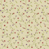 AC4427 - Country Keepsakes Country Floral Trail Wallpaper in Beige, Pink, Purple and Green