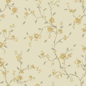 Silver Leaf II Bella Flaxen Wallpaper SL5676