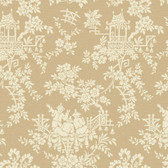 Sculptured Surfaces Teahouse Toile Tan Wallpaper RD3569