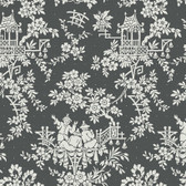 Sculptured Surfaces Teahouse Toile Charcoal Wallpaper RD3572
