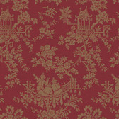 Sculptured Surfaces Teahouse Toile Cherry Wallpaper RD3573