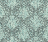 teal & silver & white & dark grey Watercolors Batik Ogee Wallpaper