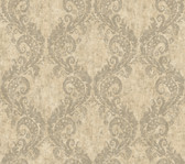 beige & silver & brown Watercolors Batik Ogee Wallpaper