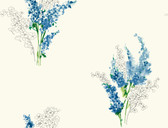 white & blue & yellow & green & greens & grey Watercolors Delphinium Wallpaper