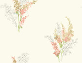white & peach & pale blue & yellow & green & beige & tan & grey Watercolors Delphinium Wallpaper