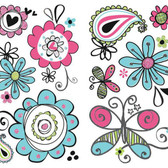 ROOM TO GROW RMK2616SCS DOODLERIFIC FLORAL WALL DECAL