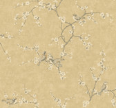 Handpainted III Birds W/Blossoms Granola-Ivory Wallpaper HP0324