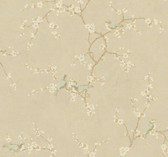 Handpainted III Birds W/Blossoms Hazelwood-Cream Wallpaper HP0325