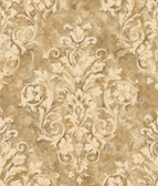 Handpainted III Painterly Damask Fawn Wallpaper HP0365
