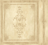 Handpainted III Architectural Panel Flaxen Wallpaper HP0381