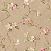 Handpainted III Floral Spray Tortilla-Fuschia-Pear Wallpaper HP0414