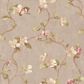 Handpainted III Floral Spray Ash-Olive-Punch Wallpaper HP0416
