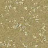 Handpainted III Birds W/Blossoms Olive-Slate Wallpaper HP5568