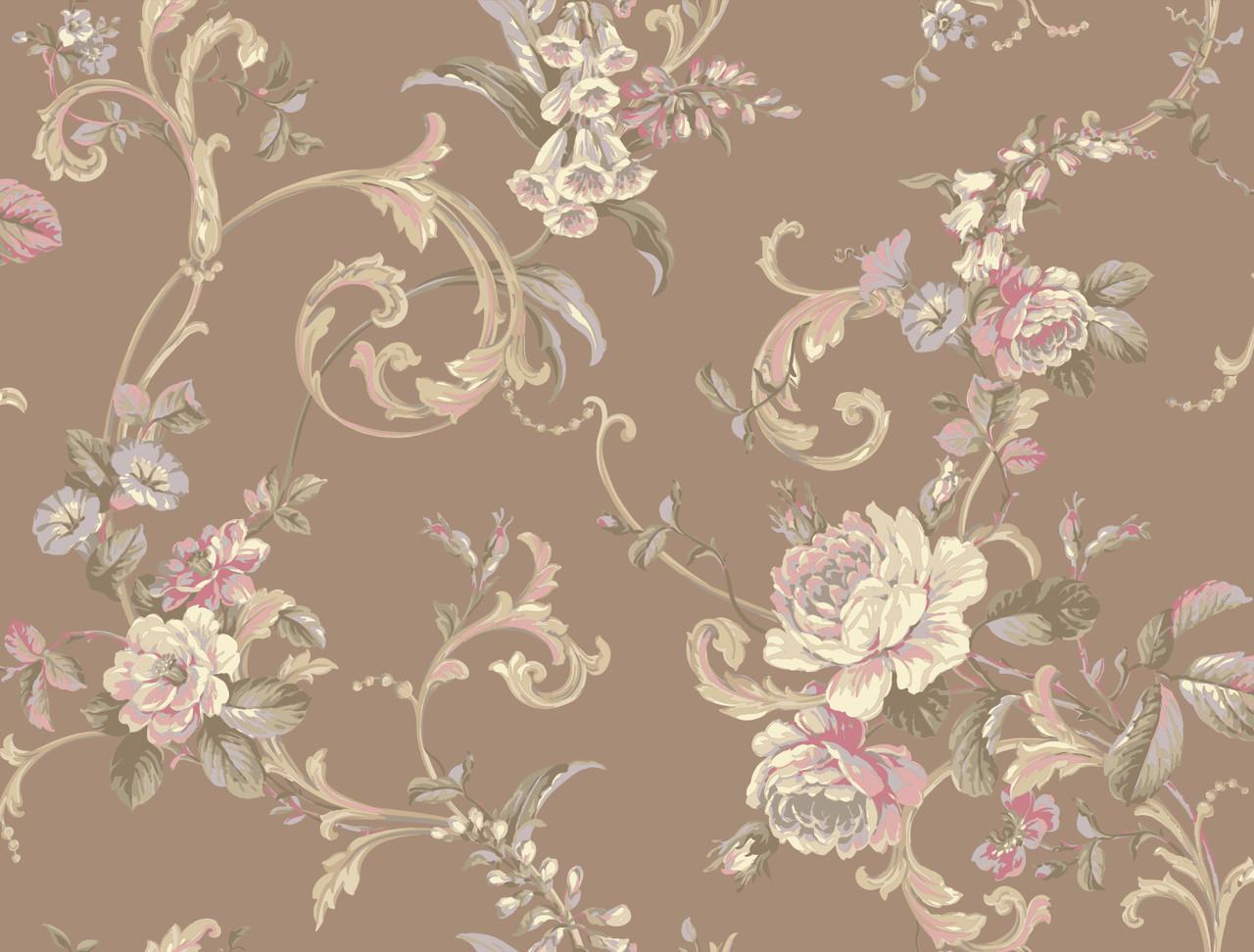 Hyde Park Pl4601 Floral Scroll Wallpaper Indoorwallpaper Com