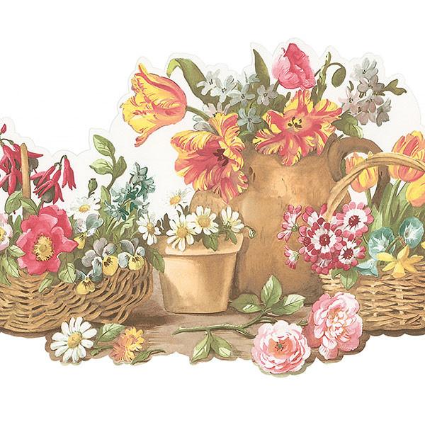 Norwall Fk78464dc Tisket A Basket Border Of Flower Baskets And Pots