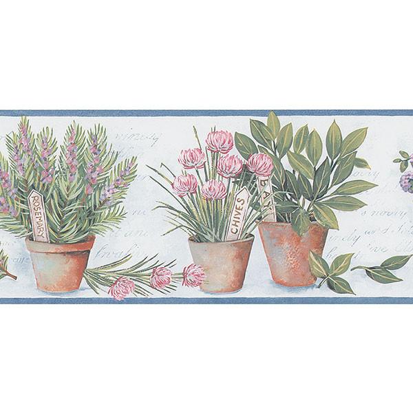 Norwall Kv79531 Herb Garden Border With Herb Flower Pots