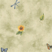 Norwall BG19541 Flutterbyes and Flowers butterflies and sunflowers with dragonflies toss