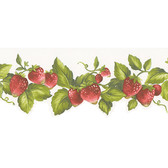 Norwall Strawberry Forever - Strawberry Border with Green Leaves FK72635DC