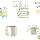 Norwall FK34423 Honey Bees bee hives, bees, sunflowers on white background