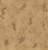 Chesapeake BYR95581 Sheen Brown Skaters Toss Wallpaper