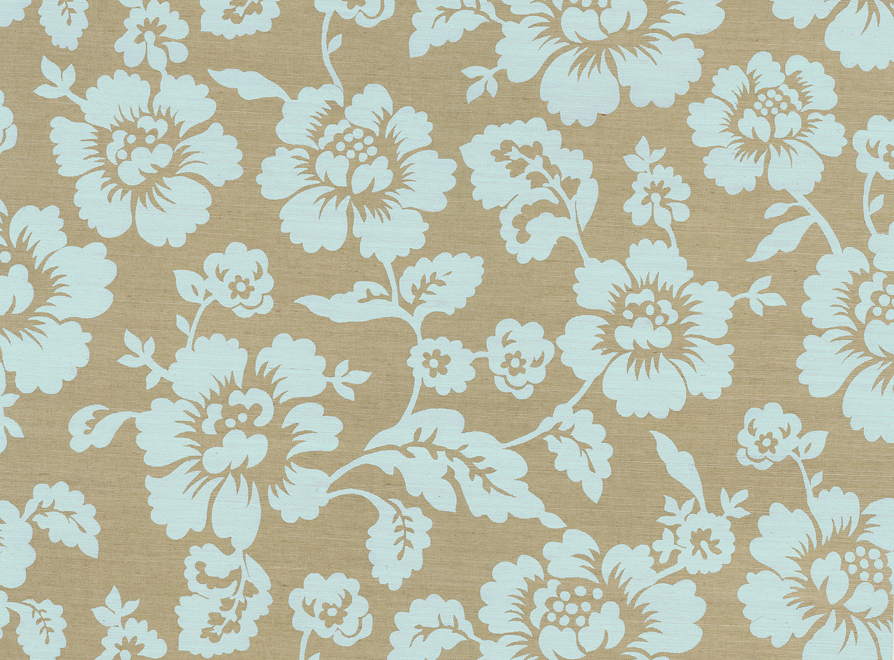 566 44502 Bliss Light Blue Grasscloth Floral Wallpaper