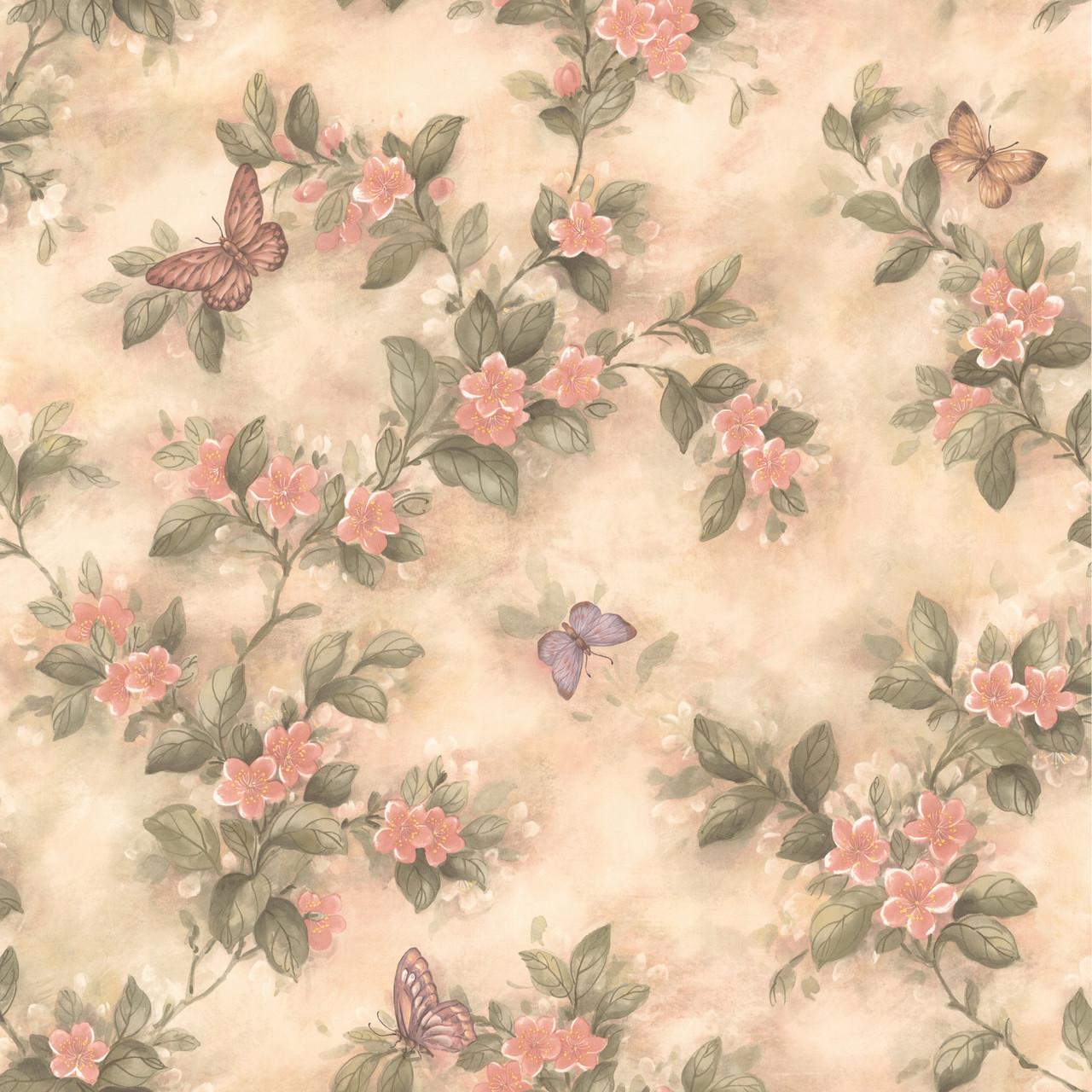 436 38573 Lisa Peach Butterfly Floral Wallpaper