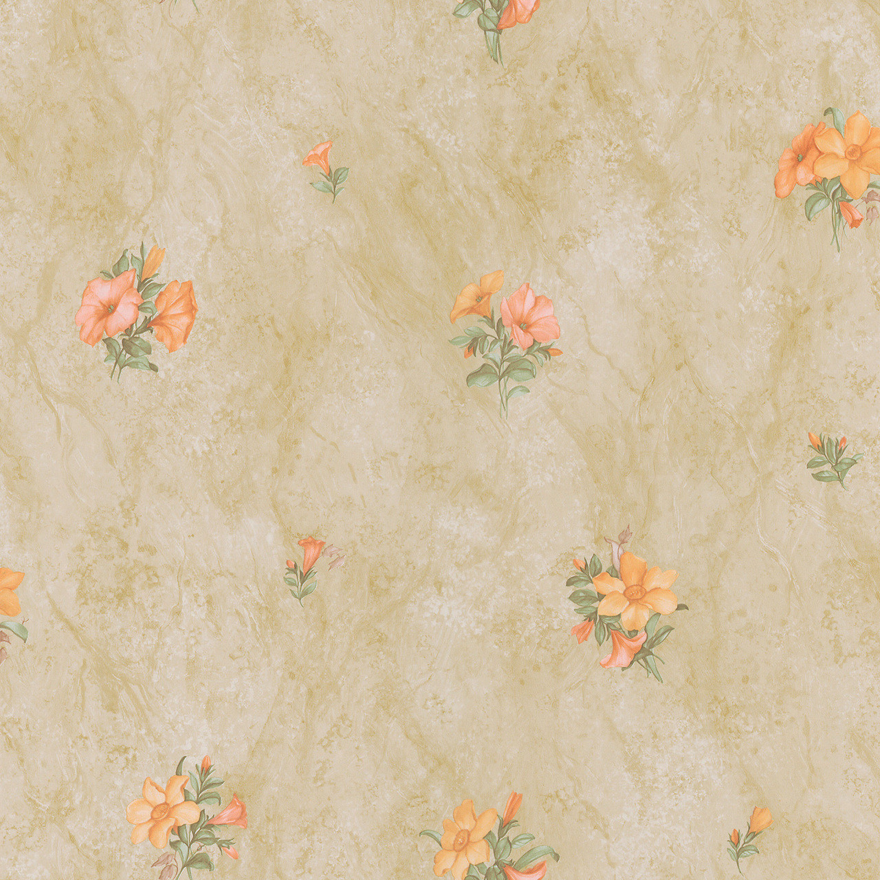 436 45103 Petunia Peach Marble Floral Wallpaper