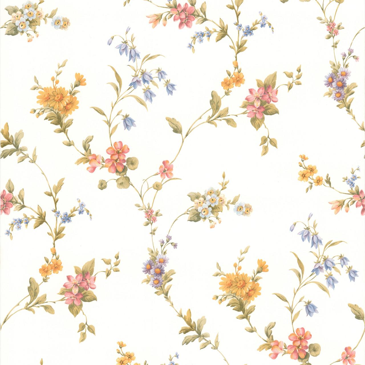 436 65757 Heidi Peach Floral Trail Wallpaper Indoorwallpaper Com
