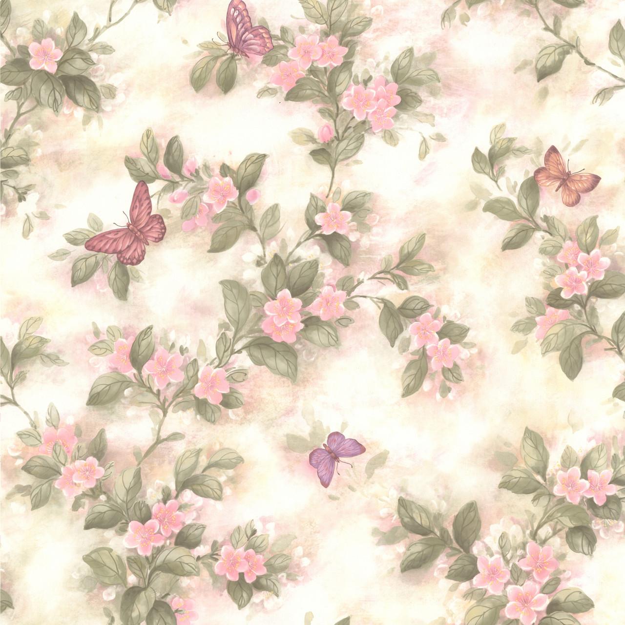 436 65763 Lisa Pink Butterfly Floral Wallpaper Indoorwallpaper Com