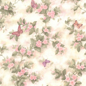 436-65763 - Lisa Pink Butterfly Floral  wallpaper