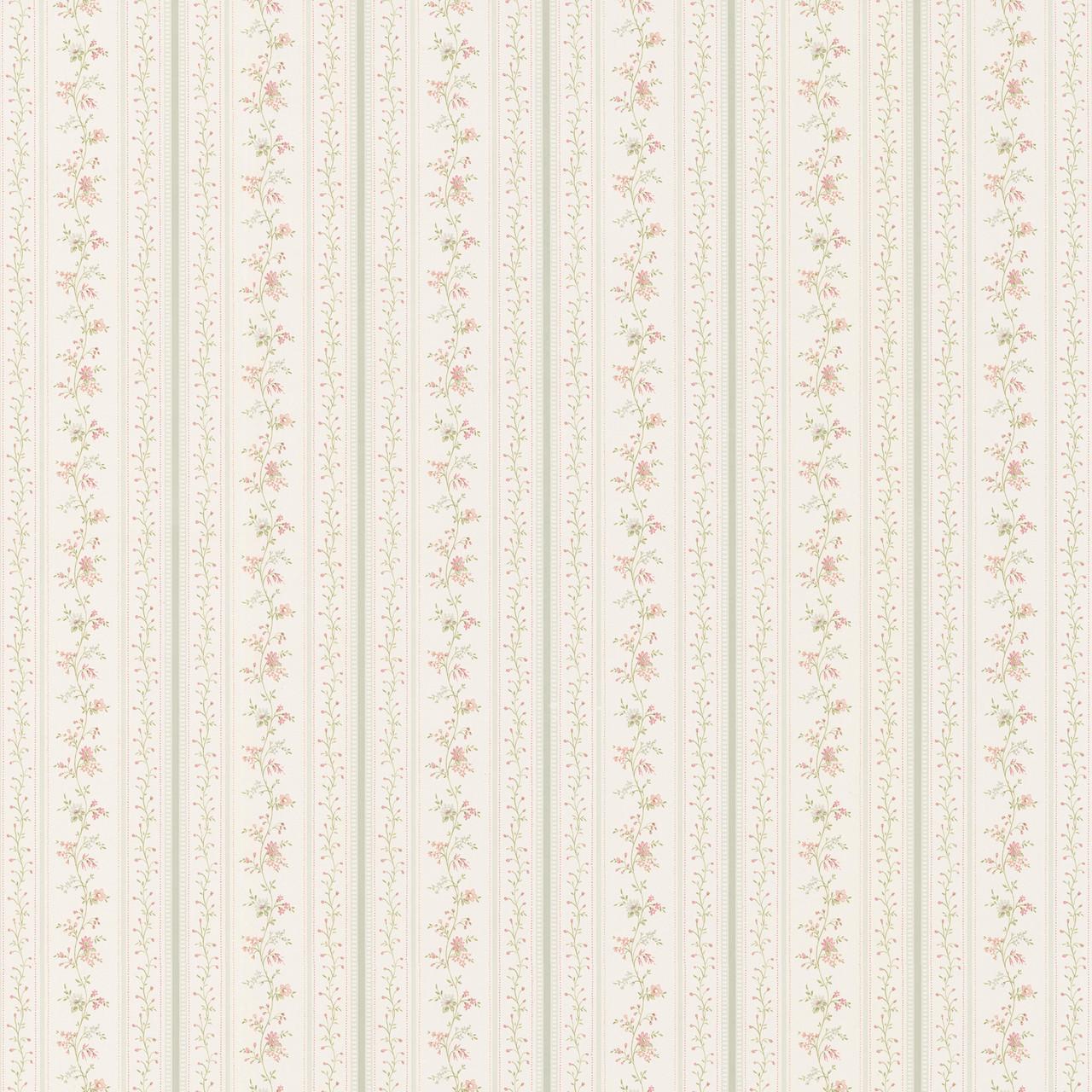 436 66332 Marta Green Dainty Floral Stripe Wallpaper