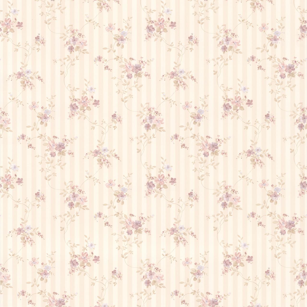 436 66373 Delilah Mauve Floral Stripe Wallpaper