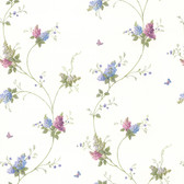 436-66426 - Isabelle Purple Butterfly Floral Trail wallpaper