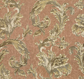 481-1416 Romeo Copper Leafy Scroll wallpaper