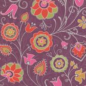 Suzani Primitive Jacobean Merlot Wallpaper 314022